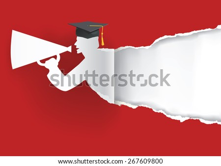 Paper graduate ripping paper. Red Graduation background with Paper graduate ripping paper with place for your text or image.Vector illustration. - stock vector