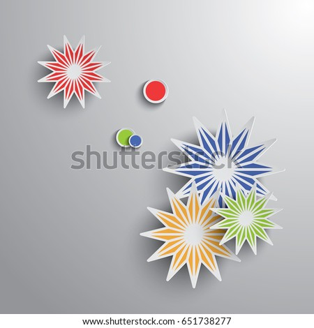 Paper graphic of geometric art. Stars and rounds on gradient background.