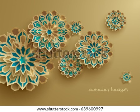 Paper graphic of islamic geometric art. Islamic decoration. Ramadan Kareem is the name of the glorious month of Ramadan.