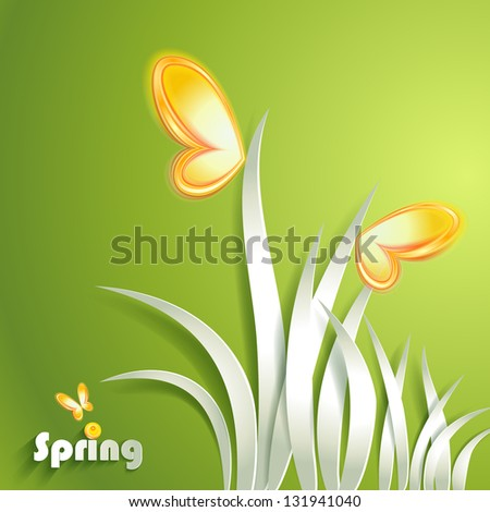 Paper grass with butterfly - stock vector