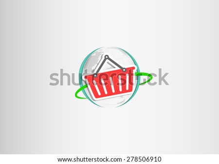 Paper hand shopping cart flying around the paper planet Earth - stock vector