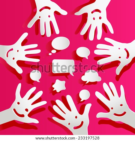 paper hands with faces and bubbles speech - stock vector