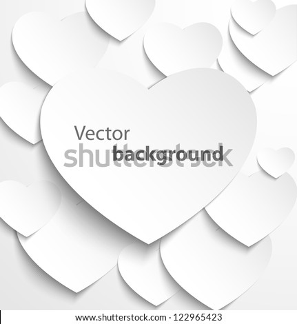 Paper heart banner with drop shadows on white background. Vector illustration