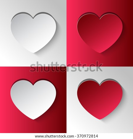 Paper heart cut from paper. Vector abstract background with heart. Valentine's Day. Red and white hearts. Set hearts. - stock vector