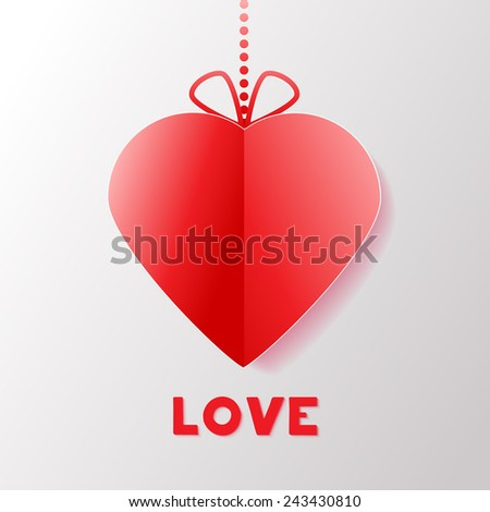 Paper Heart. Happy Valentines Day Greeting card. Suitable for various designs, invitation and scrapbook. Vector illustration EPS 10 - stock vector
