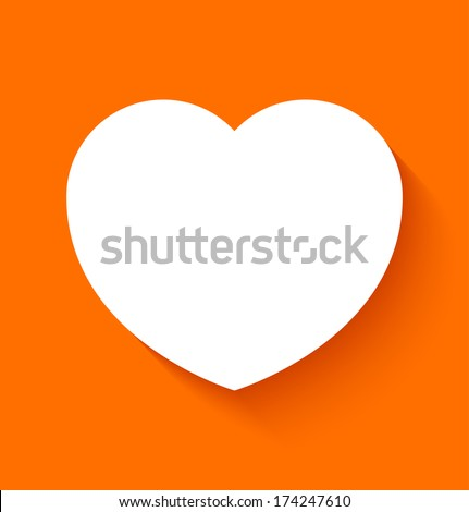 Paper heart icon in flat style on orange background. Vector illustration - stock vector