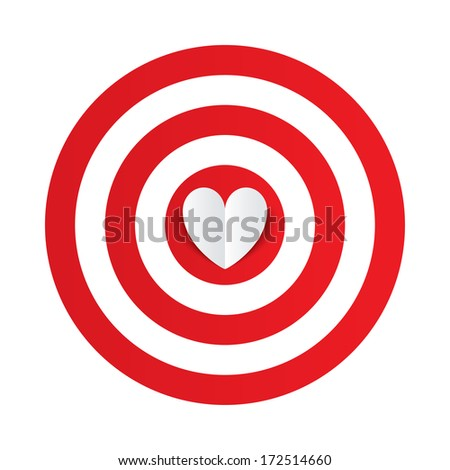 Paper heart in the center of darts target aim. Valentines day card on white background. Vector illustration - stock vector