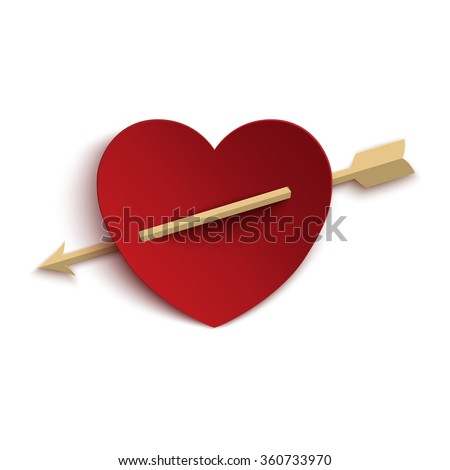 Paper heart with arrow isolated on white background. Template for Valentines Day greeting card. Vector illustration. - stock vector