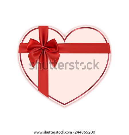 Paper heart with red ribbon and a bow. Valentines day decoration. Vector illustration - stock vector