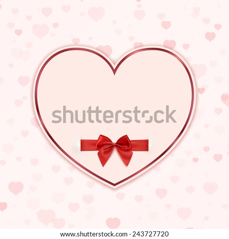 Paper heart with red ribbon and a bow. Valentines day greeting card. Vector illustration - stock vector