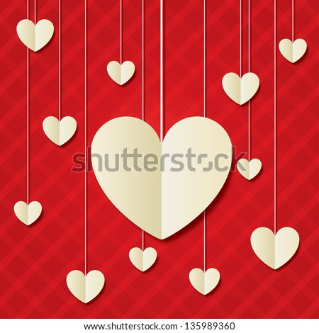 Paper hearts red background. Valentines day card. White vintage floral element. Geometrical 3d shape (shadow). - stock vector