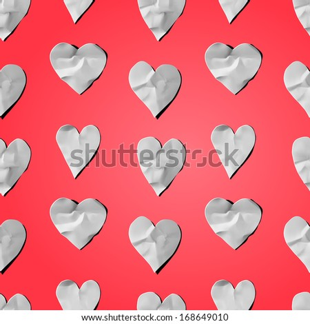 Paper hearts - seamless art craft DIY pattern, vector illustration.