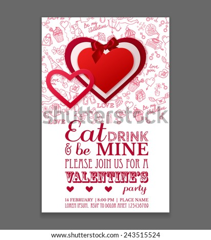 Paper hearts sticker with bow on doodle background. Valentines Day Party Flyer Design. Vector template of invitation, flyer, poster or greeting card. - stock vector
