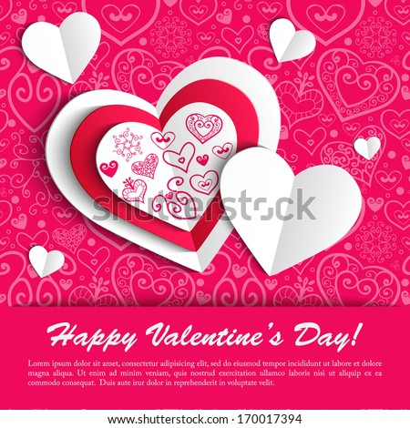 Paper hearts valentine day card with ornament background vector illustration - stock vector