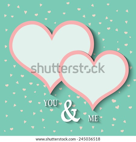 Paper Hearts Valentines Day Card, Vector Illustration EPS 10.