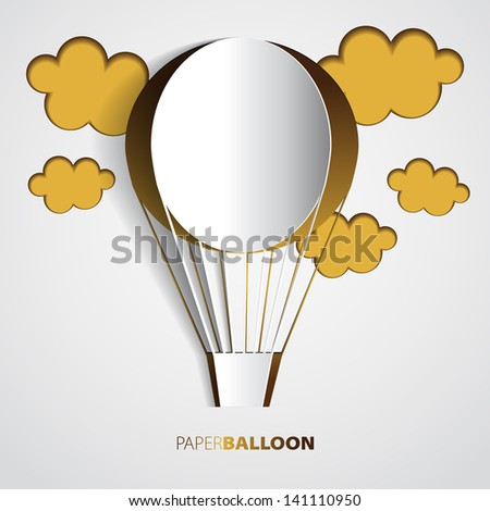 Paper hot air balloon with clouds - vector illustration - greeting card - stock vector