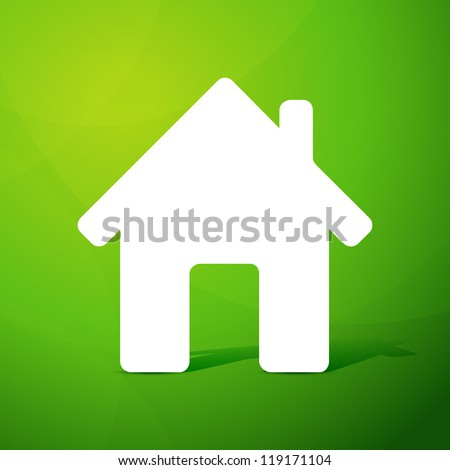 Paper house on green background. Vector illustration. - stock vector