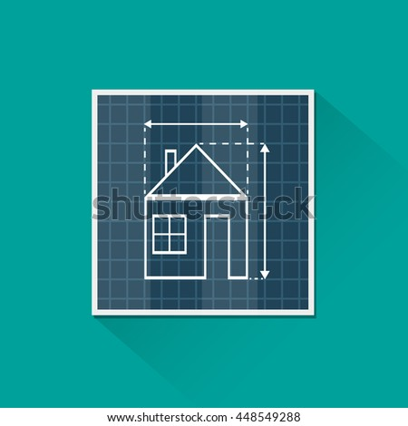 Paper house plan with dimension lines. blueprint drawing in shape of house sign. Architecture, building, real estate, construction, housing. vector illustration in flat style on green background