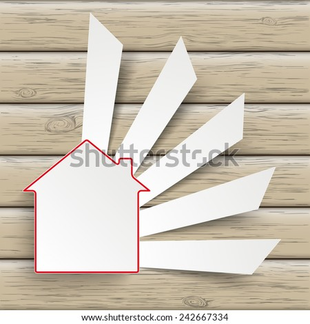 Paper house symbol on the wooden background. Eps 10 vector file.