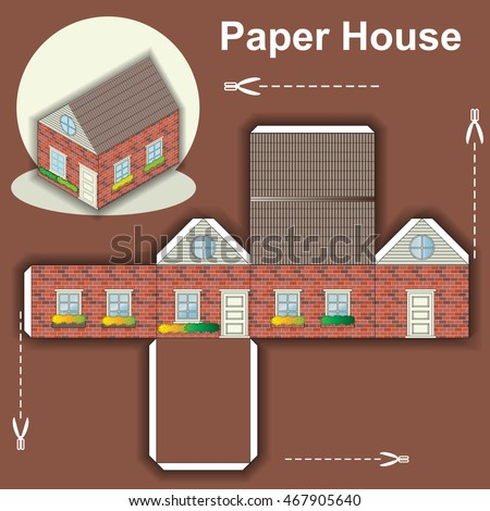 Paper House Template Stock Vector   Shutterstock