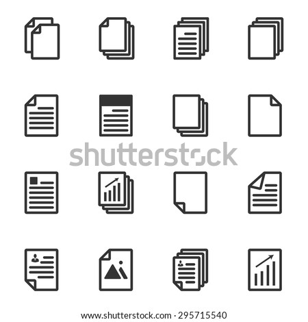 Paper icon, Document icon, Vector EPS10 - stock vector