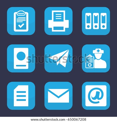 Paper icon. set of 9 filled paper icons such as passport, mail, clipboard, doctor prescription, binder, at email