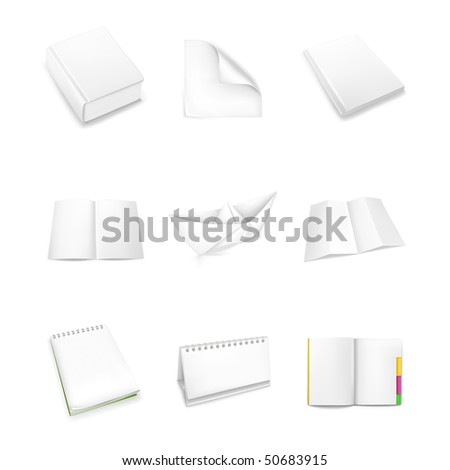 Paper icons, vector - stock vector