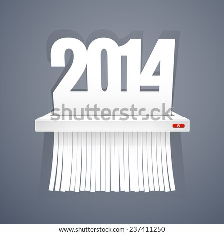 Paper 2014 is Cut into Shredder on Gray. - stock vector