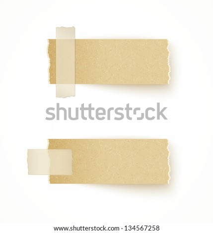 paper labels attached with sticky tape on white background - stock vector