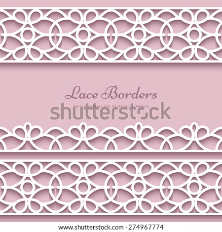 Paper lace borders with shadow, vector frame with ornamental lacy lines, eps10 - stock vector