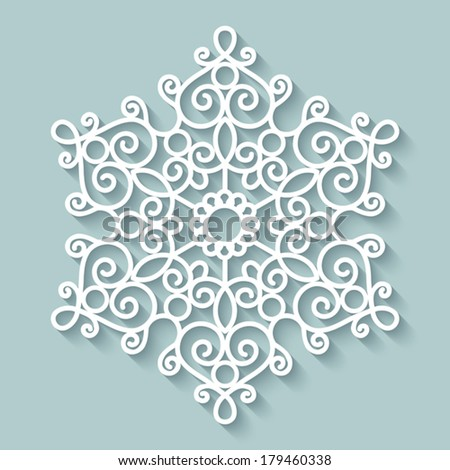 Paper lace doily, decorative snowflake, round crochet ornament, vector eps10 - stock vector
