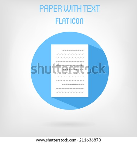 Paper list icon in flat style, with abstract text on it. Blue circle with long shadow - stock vector