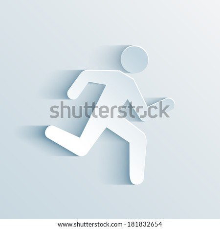 Paper Man Running Sign vector illustration on white background - stock vector