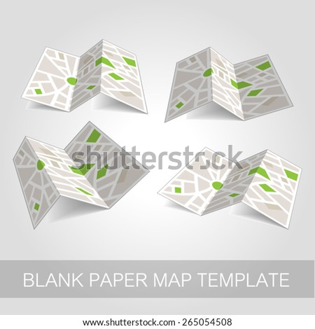 Paper map template set vector illustration  - stock vector