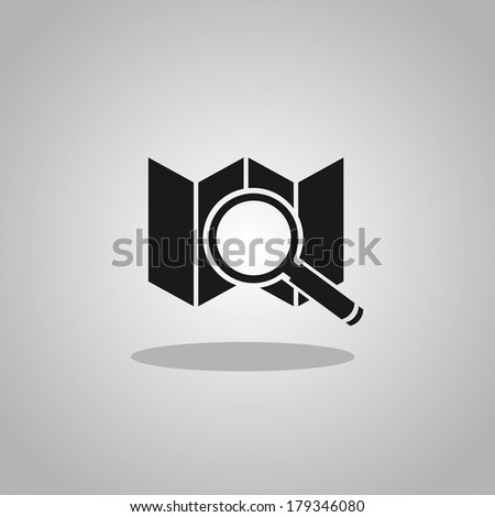 paper map with magnifier - stock vector