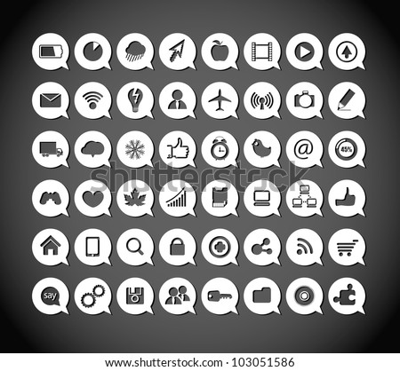 Paper media icons in clouds