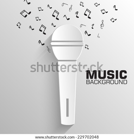paper microphone vector background concept. Illustration tamplate for web and mobile - stock vector