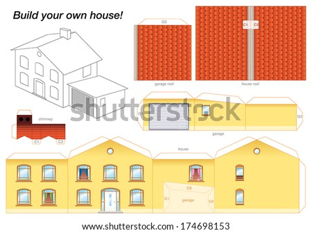 Paper model yellow house garage easy stock vector for 3d garage builder