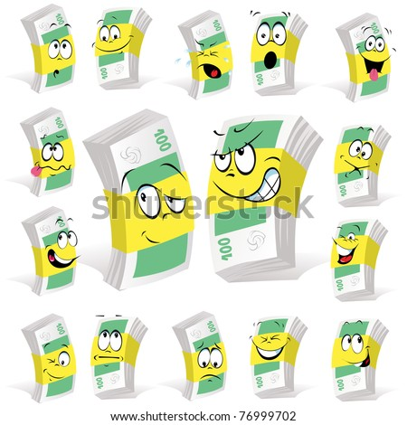 paper money cartoon with many expressions - stock vector