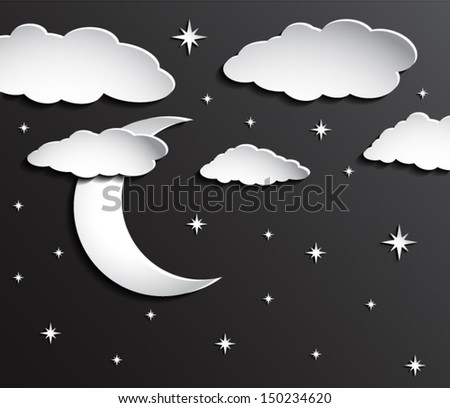paper moon on dark sky with clouds and stars / vector eps 10 - stock vector