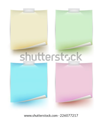 Paper note colours set. Vector illustration. Can use for printing and web.