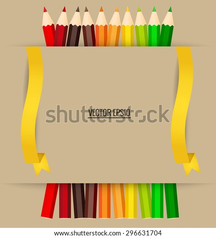 Paper note with color pencils background, vector illustration. - stock vector