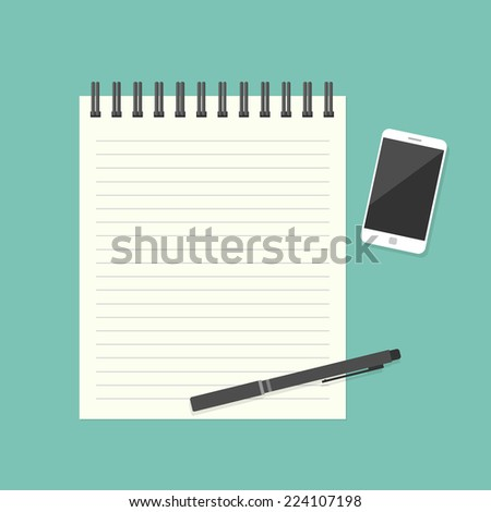 Paper note with pen and smartphone - stock vector