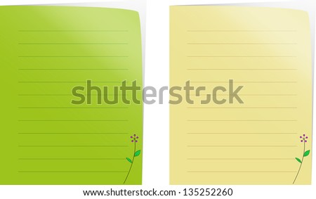 Paper notes green and brown. - stock vector