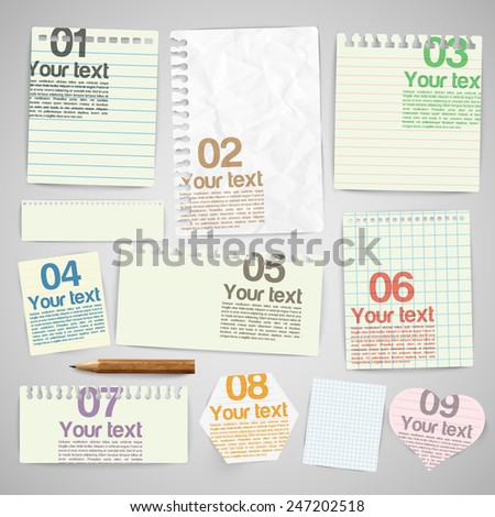 Paper notes, vector - stock vector