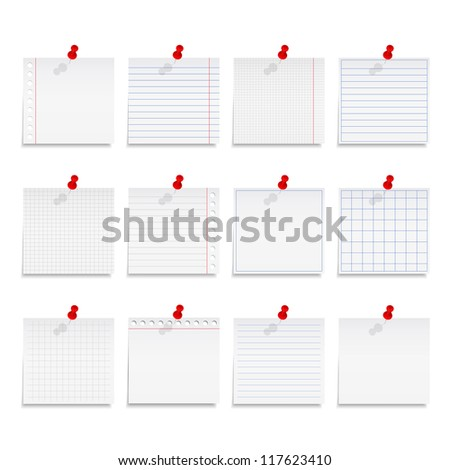 Paper notes, vector eps10 illustration - stock vector