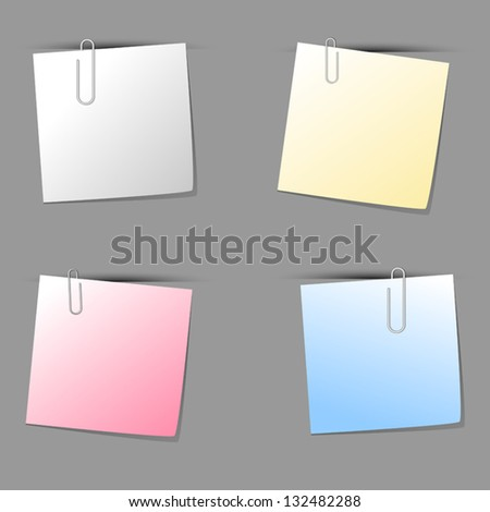 Paper notes with clips. Vector illustration. - stock vector