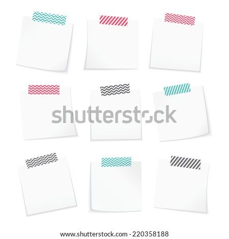 Paper notes with washi tape - stock vector