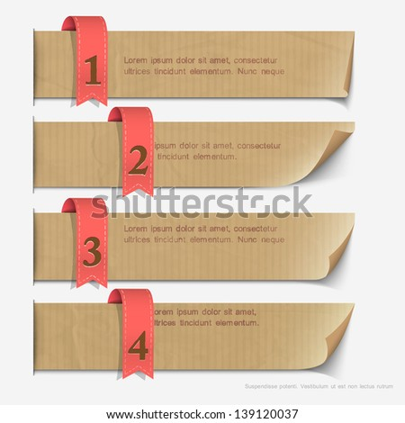 Paper numbered banners, design for infographics. Vector EPS10