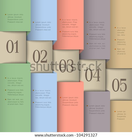 Paper numbered banners in pastel colors. Vector design template